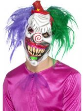 Kolorful Killer Klown Over Head Mask With Hair